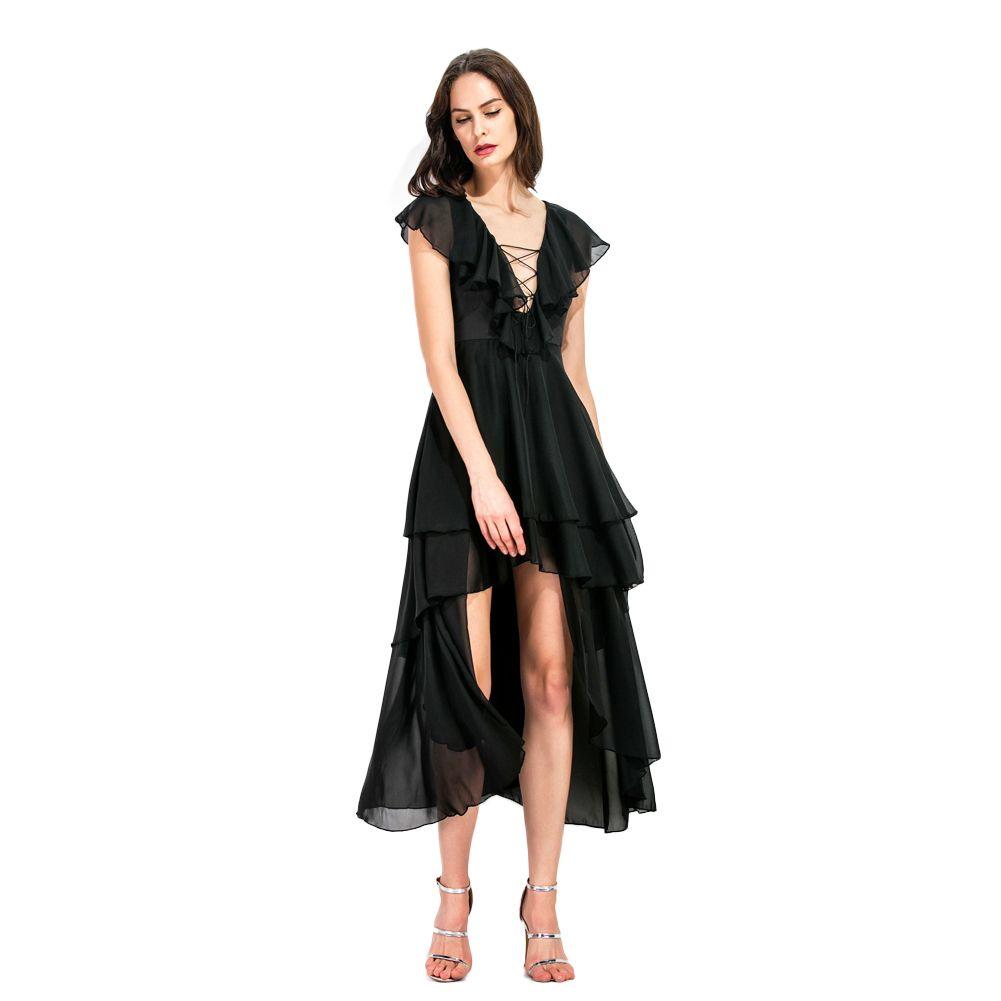 2019 Women Asymmetrical Chiffon Dress Plunge V Neck Ruffles Long Dress  Hollow Out Lace Up Draped Swing Layered Dress Black White Dresses For  Parties ... 42dbb4ddd