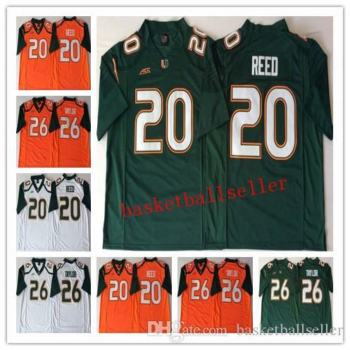 sale retailer 0e009 9e80c NCAA Mens 2018 Miami Hurricanes Green Orange White #20 Ed REED #26 Sean  TAYLOR College Football Jerseys good quality hotsale
