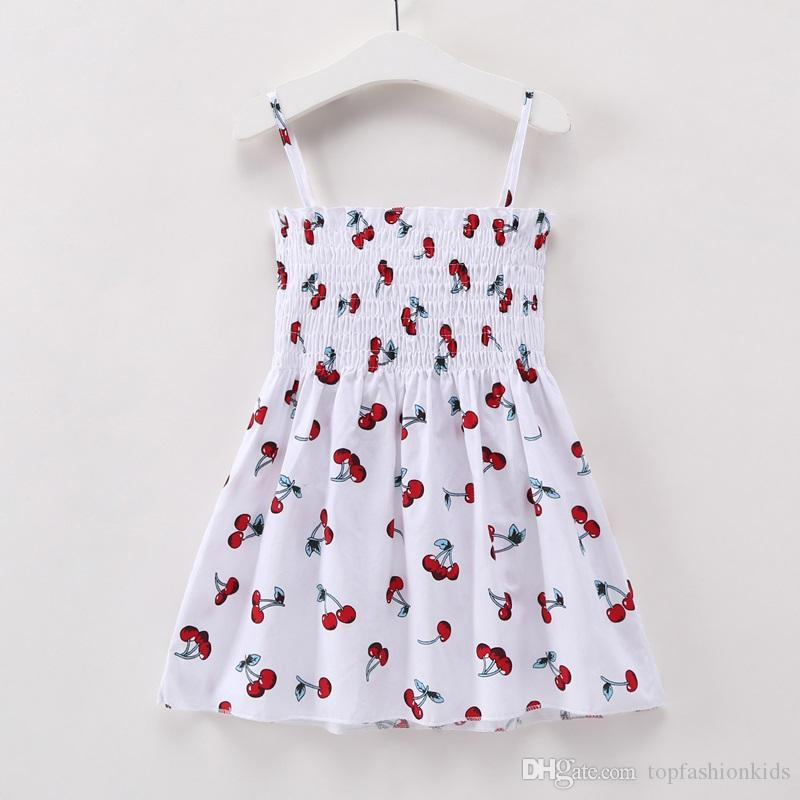 Baby Girl Clothing Cherry Cartoon Print Girl Flowers Dress 5pcs/lot New Summer Baby Clothing for Party Dress