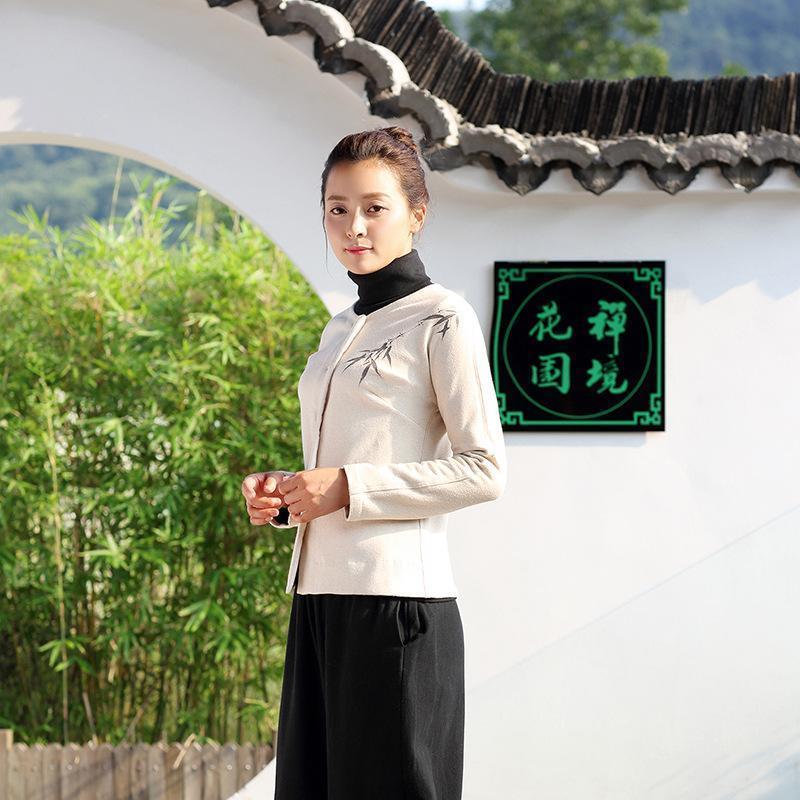 30e29b924 Mujeres Chaquetas Retro Tradición China Abrigo de Bambú pintado a mano  Nuevo Abrigo de Punto Cardigan Mujeres Moda de Invierno Mujer