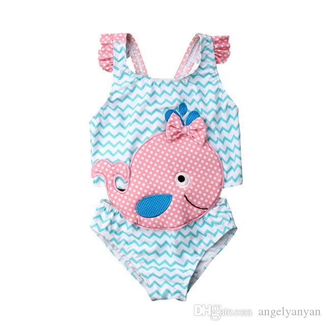 2019 Kids Swimwear Baby Girl Swimsuit Bowknot One-Piece Goldfish Jumpsuit Bathing Suit Summer Toddler Children Beachwear