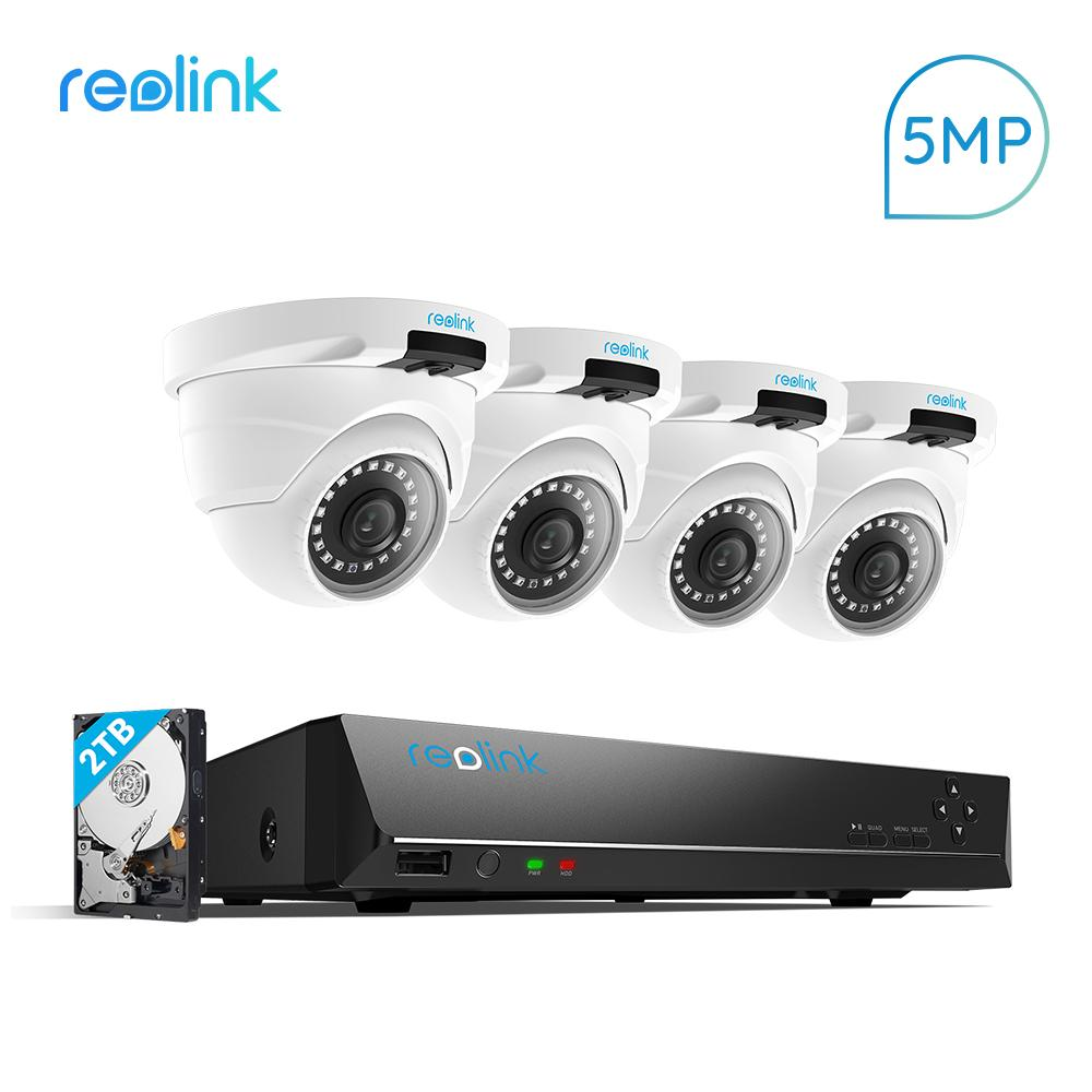 Reolink 5MP Camera System 8ch PoE NVR&4 PoE IP Cameras Outdoor HD Video  Surveillance Kit 2TB HDD RLK8-420D4-5MP