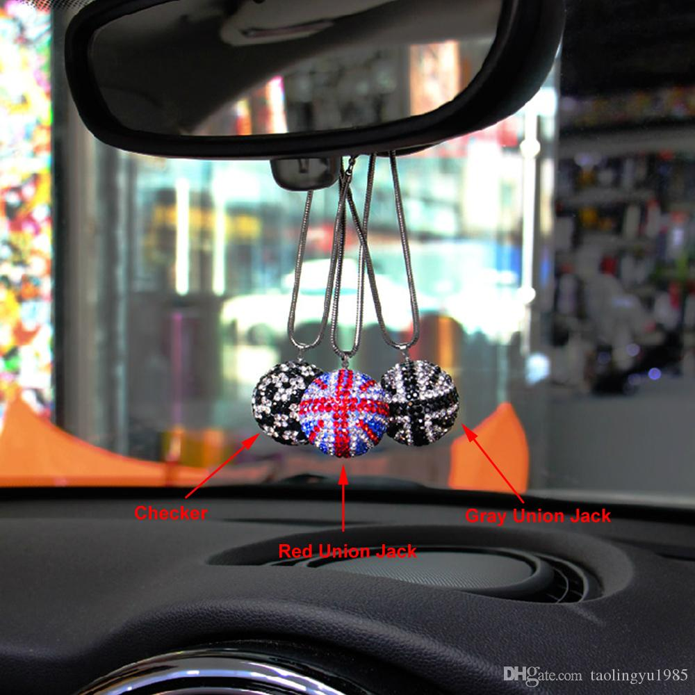 Car Rear View Mirror Crystal Bling Round Ball Pendant Hanging