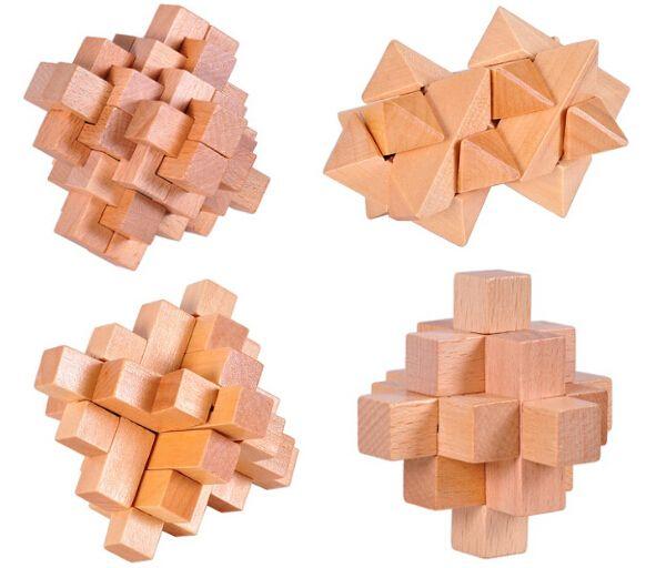 4pcs/set 3d Wooden Puzzle Mind Burr Interlocking Puzzles Game For Adults  Children