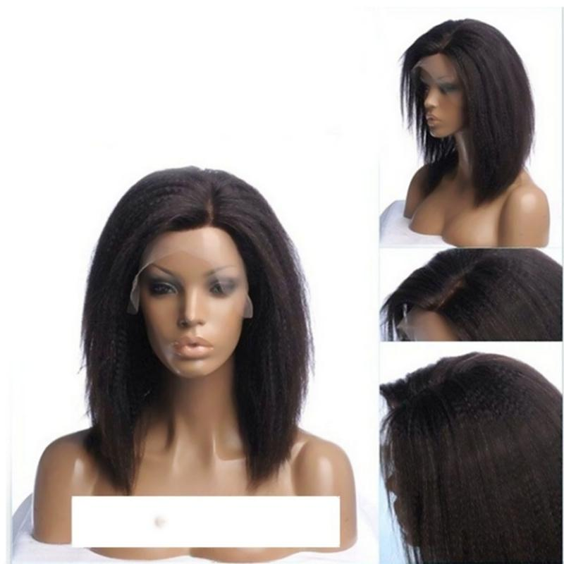 Natural Soft Short Bob Style Kinky Straight Left Side Part Glueless Lace Front Wigs 12inch Black/brown Synthetic Heat Resistant Fiber Hair