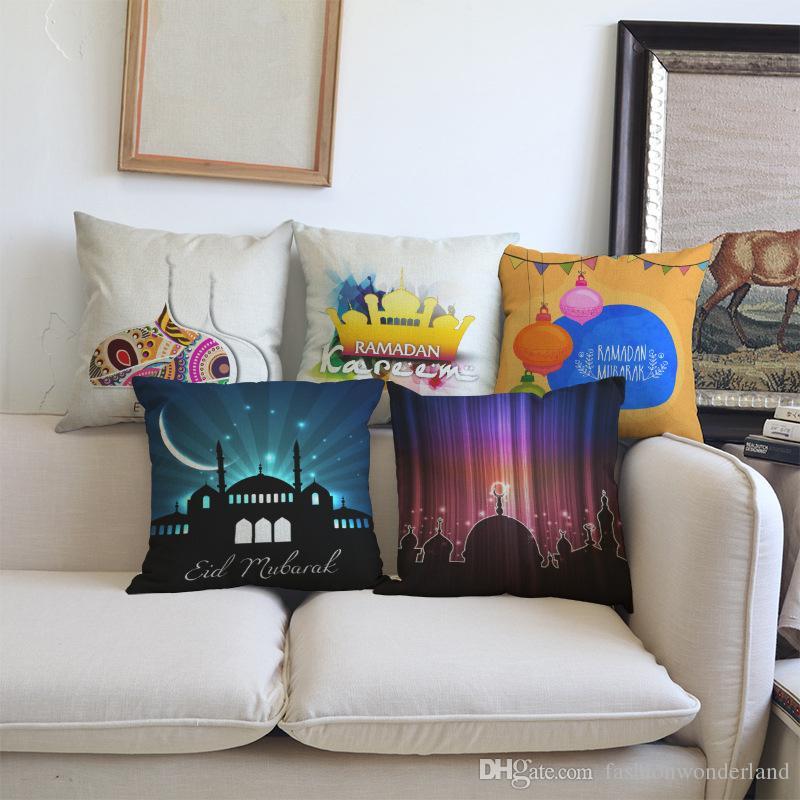 Astounding Ramadan Kareem Eid Mubarak Cushion Covers Happy Life Moon Linen Cotton Pillow Covers 45X45Cm Sofa Chair Seat Decoration Interior Design Ideas Tzicisoteloinfo