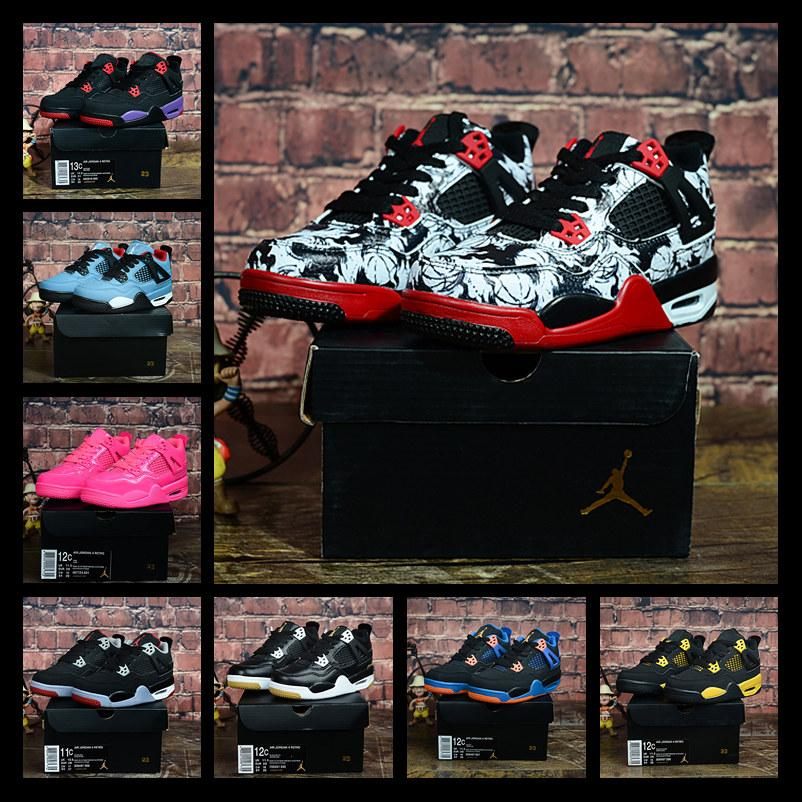 2019 Kids 4 Bred Cactus Jack Pure Money Basketball Shoes 4s Children Boy Girls Pink White Alternate 89 Black Cat Sneakers Toddlers Birthday
