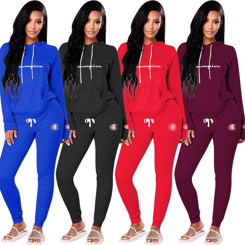 87c78940478 2019 Women Champions Pullover Hoodie Joggers Tracksuit Autumn Hooded  Sweatshirt Jacket Pants Leggings Joggers Suit Sportswear Clothes DHL From  ...