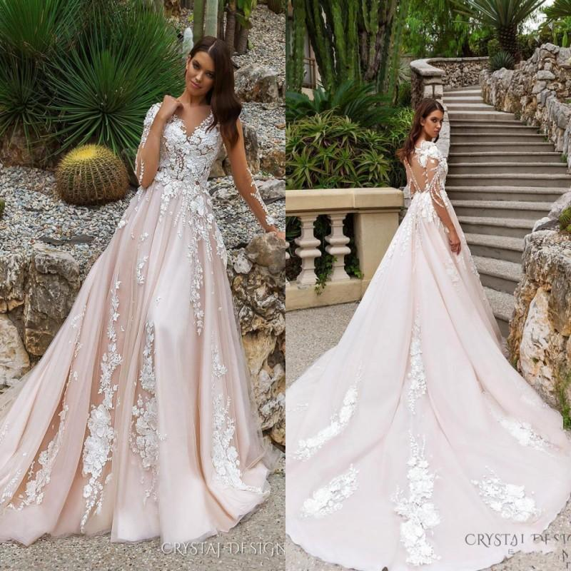 0965643d8d85a 2018 Stunning A Line Wedding Dresses Illusion Neckline Sheer Long Sleeves  Full Embroidery Court Train Bridal Gowns BA7800