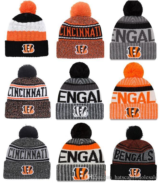 e6b20216e9b 2019 Wholesale New Pom Poms Men Women Winter Hats Sports Bengals Beanies  Fashion Knitting Hat Embroidered Logo Brand Thick Female Warm Caps From ...