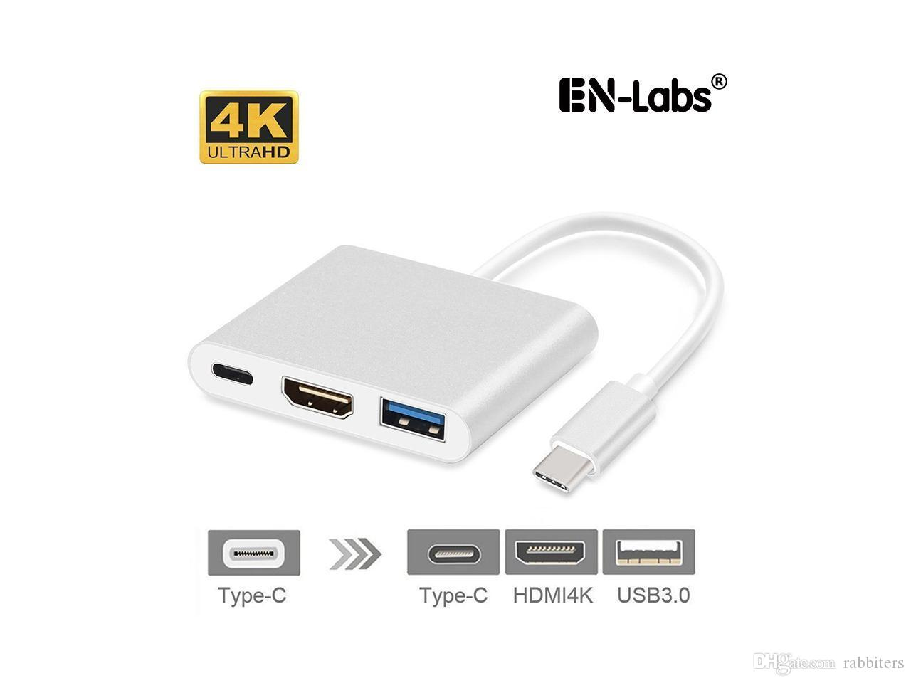 USB3 1 Type-C to 4k HDMI USB 3 0 HUB USB-C Charging Port Adapter Cable 3  in1 for Apple Macbook Pro Air/ Chrome OS/ Windows 10