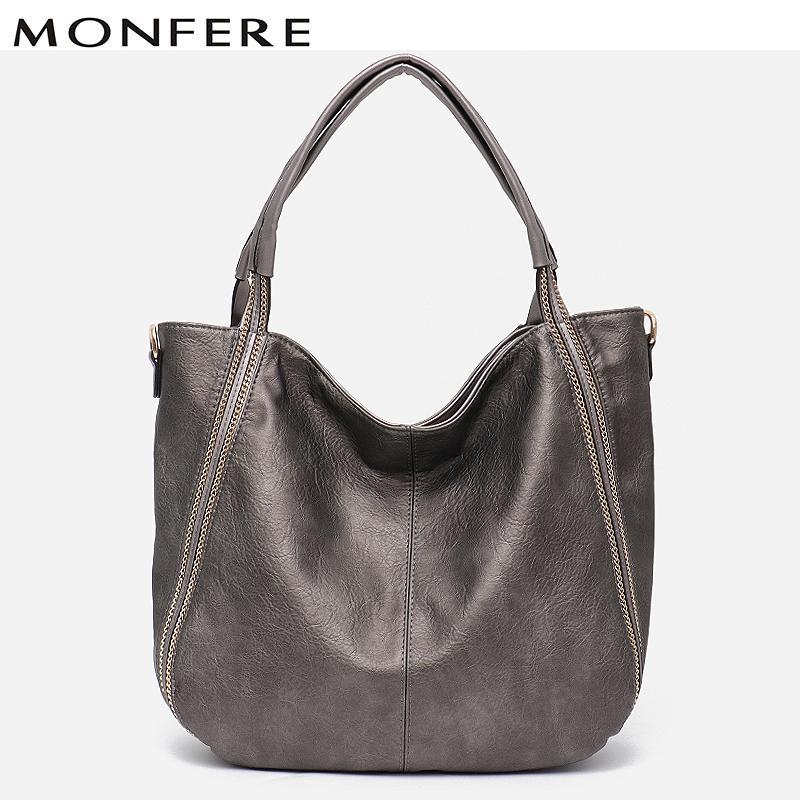 47b3334110 MONFERE Fashion Brand Large Tote Bag Shoulder Bag Designs Zipper Solid Vegan  Leather Female Metal Chain Shoulder Messenger Bags White Handbags Satchel  ...