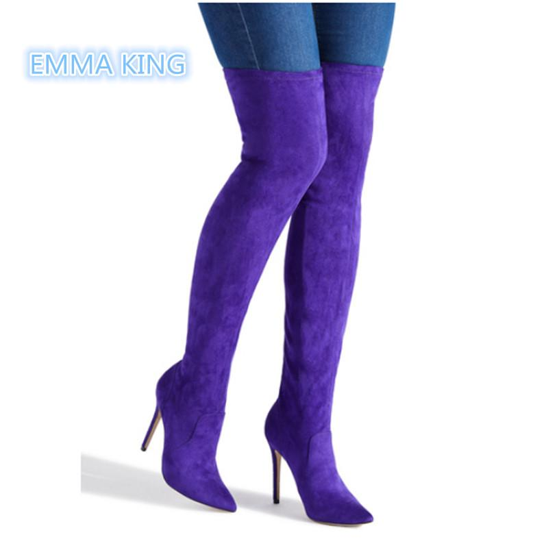 6ce6c6090b Purple Suede Stretch Over The Knee Boots Women Pointed Toe High Heels Sexy  Ladies Shoes Side Zipper Stilettos Thigh High Boots Chelsea Boots Shoes  Online ...