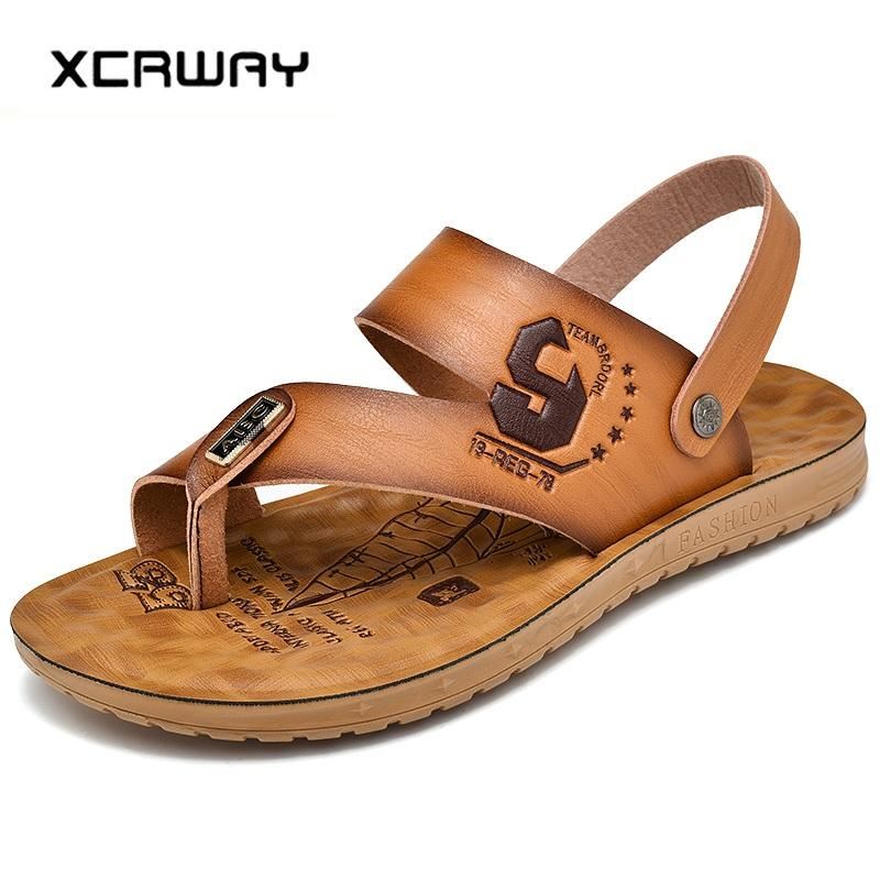 ba81d69a6 XCRWAY Men 2019 Sandals Leather Men S Sandals Beach Slippers Casual Sandal  Flip Flops Slip On Man Footwear Outdoor Shoes 38 44 Sandals For Girls Chaco  ...