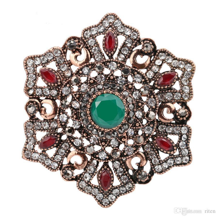 2019 2018 New Flower Design Vintage Brooches Pins For Women Turkey India  Ethnic Green Crystal Jewelry Accessories From Riten, $27.98 | DHgate.Com