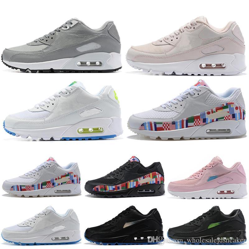 Nike Air Max 90 90s Shoes Chaussures de course pour Hommes Femmes Drapeau International Blanc Noir Rose Gris Respirant Classique En Plein Air
