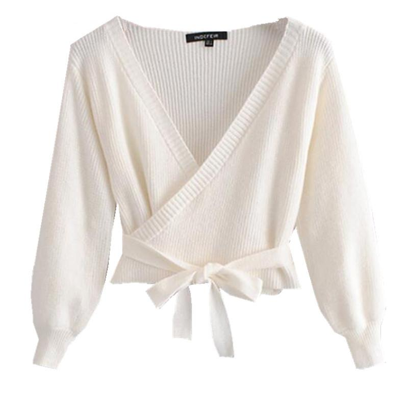 65dd385a0d66 2019 2019 Sweet V Neck Lacing Up Strappy Knitted Wrap Cardigan Sweater  Woman Puff Long Sleeve Short Jumper From Victoriata