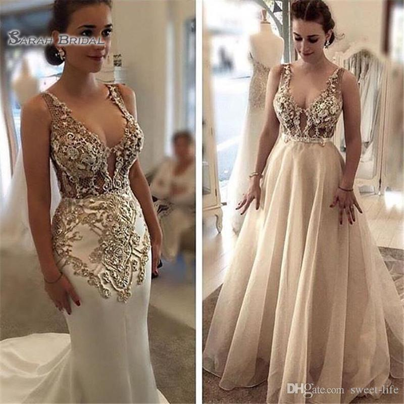 2020 Classic Sexy Mermaid Wedding Dress Bridal Party Wear V-neck with Detachable Skirt Appliques Arabic Style Prom Dresses