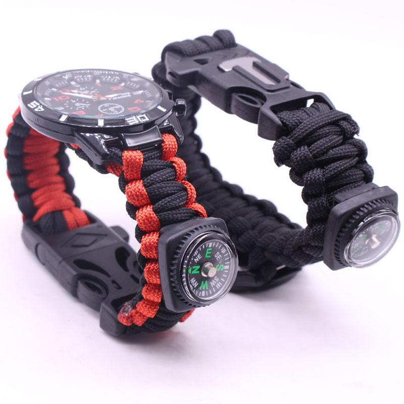 EDC Multi Tools Tactical Camouflage Outdoor survival watch bracelet compass Rescue Rope paracord Camping equipment (17)