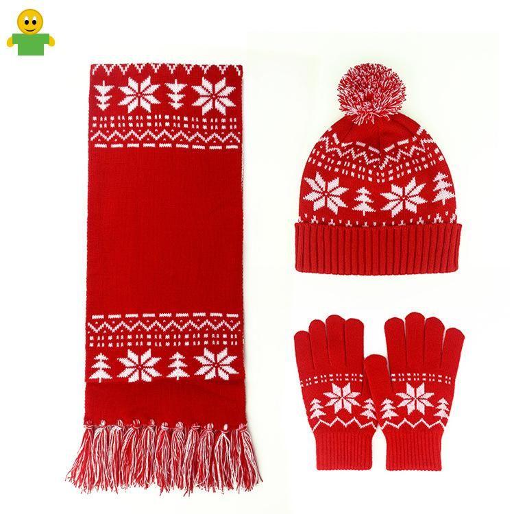 3c6fd9201cdfe Compre Gorro De Presente De Natal + Cachecol + Luvas Abraço Felicidade  Mulheres   Homens Acessórios De Tempo Frio De Tenni