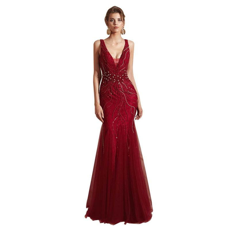 Burgundy Long Mermaid Prom Dresses 2019 New Sleeveless Floor Length Tull  Beading Open Back Formal Evening Dress Party Gowns Short Prom Dresses Ball  Gowns ... d028c06bec9f
