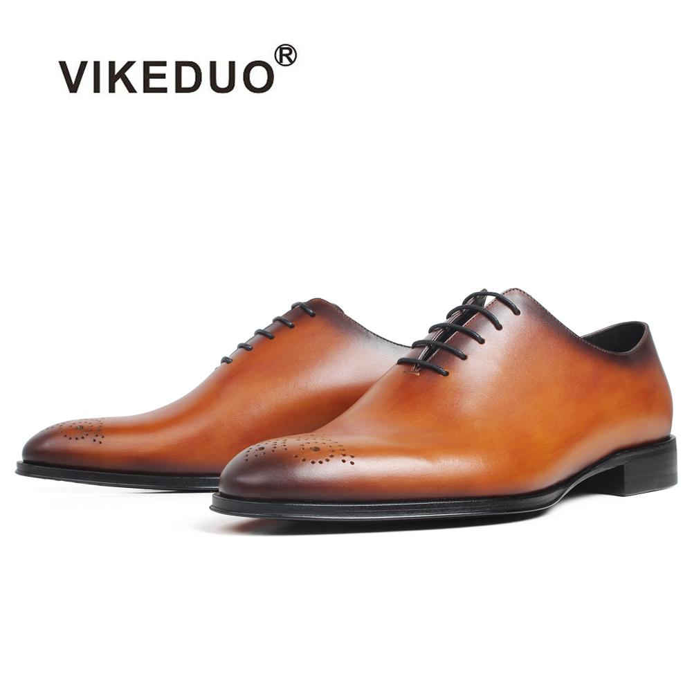 4ed53f6932487 VIKEDUO Oxford Dress Shoes Men's Genuine Cow Skin Patina Custom Made  Wedding Office Party Round Flat Leather Shoes Brogue