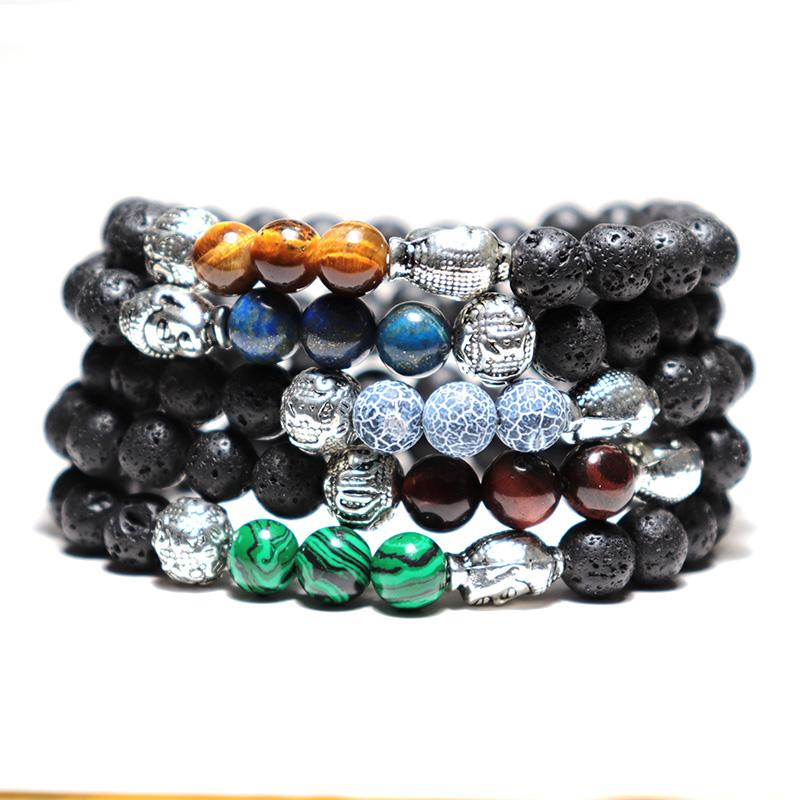 Antique Natural Stone  Lava Bracelet Handmade Black  Buddha Runes Braclet For Men Yoga Wristband Jewelry Homme