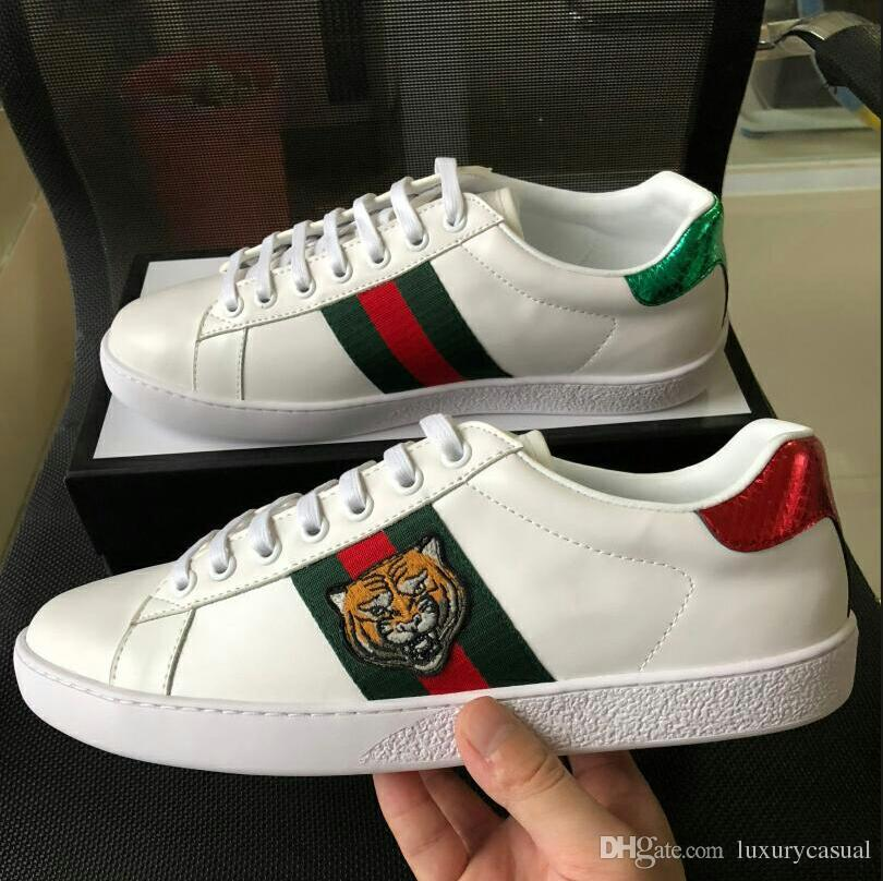341e03b5fe5 Luxury Brand Designer Shoes stripes Embroidered Tiger head ACE Top Quality  Genuine Sneakers white Genuine Leather Casual Shoes Size 35-46