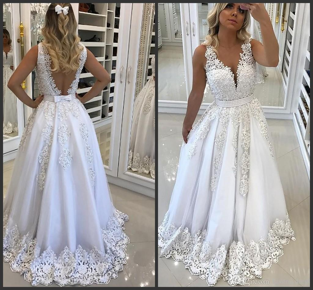 9b8a53510 White Lace Pearls Evening Gowns 2019 Deep V Neck V Backless Applique A Line  Dresses Evening Wear Prom Dress Cheap Formal Dresses Girls Party Plus  Evening ...