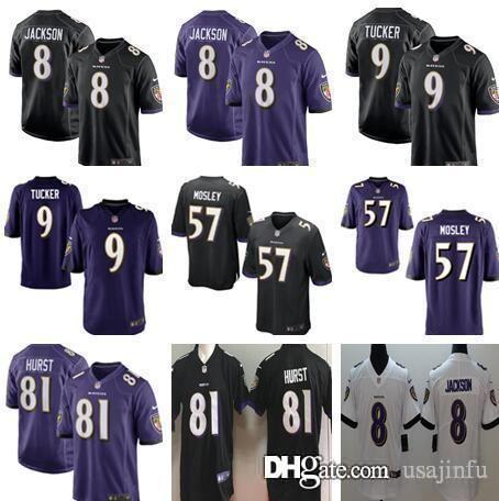 new style 66a44 b3d56 Men 8 Lamar Jackson 81 Hayden Hurst Baltimore Jersey Ravens 9 Justin Tucker  Perriman 32 Eric Weddle 55 Suggs 57 C.J. Mosley
