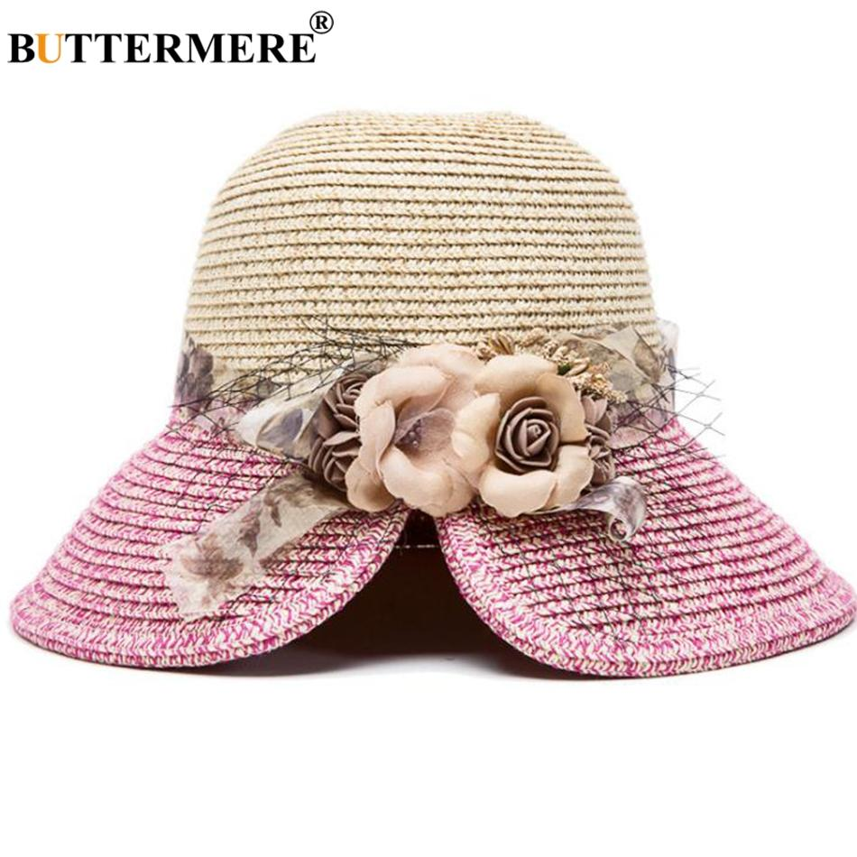 a377971984872 Wholesale Summer Straw Sun Hats Women Rose Red Patchwork Flower Beach Hat  Ladies Anti UV Casual Foldable Elegant Bucket Cap Wide Brim Hat Tea Party  Hats ...