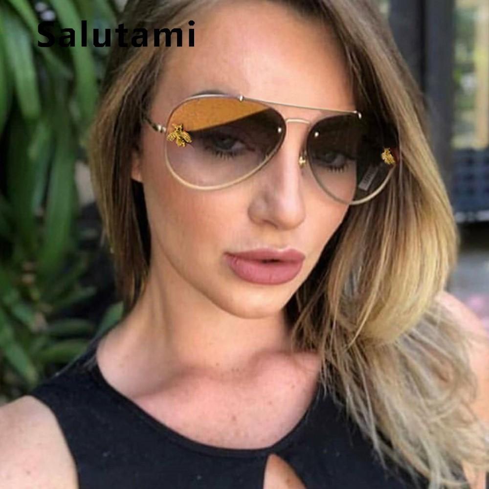 9b0f90a3e1f Alloy Frame Little Bee Women Brand Sunglasses 2019 Fashion Men Vinatge  Retro Metal Oval Sun Glasses Black Yellow Shades