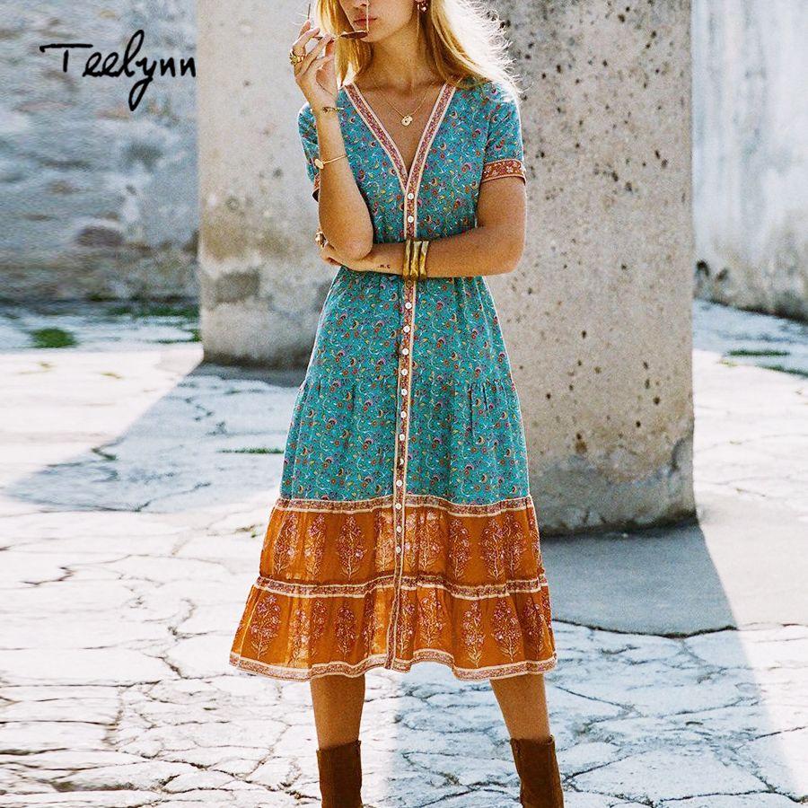 3e74c7bdaa 2019 Teelynn Long Boho 2018 Autumn Rayon Floral Print Dresses Short Sleeve Sexy  V Neck Hippie Bohemia Women Dress Vestido Q190418 From Tai002, ...