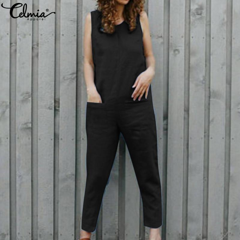d5aebf9200b 2019 Celmia Vintage Linen Rompers 2019 Women Jumpsuits Casual Sleeveles Harem  Pants Loose Vintage Playsuits Plus Size Overall Trouser From Lorsoul