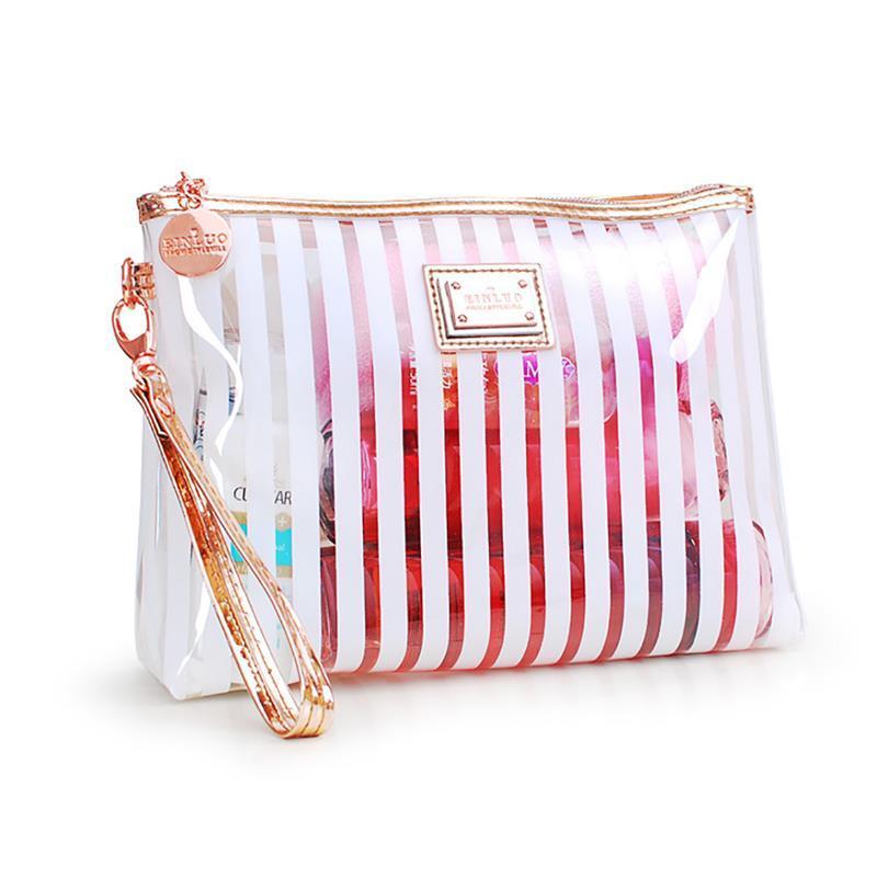 da8a4ce67dfe Stripe Toiletry Cosmetic Bags Women Clear PVC Makeup Bag Travel Organizer  Necessary Beauty Case Bath Wash Make Up Box