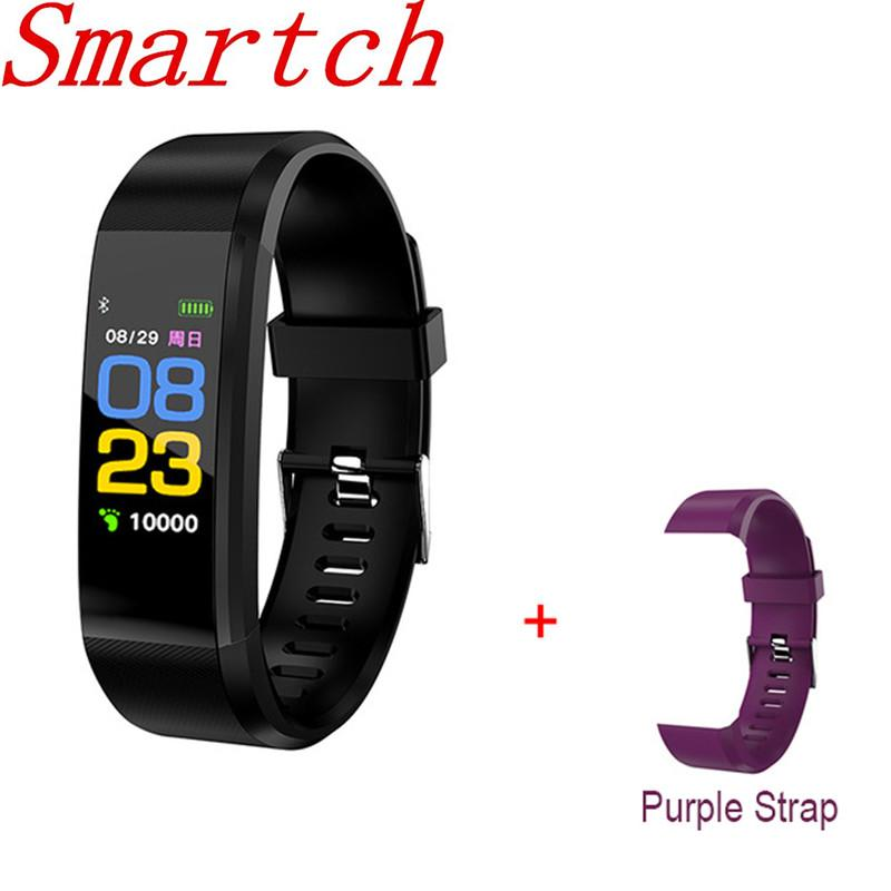 Smartch New 115 PLUS Smart Bracelet Sports Fitness Tracker Screen Touch  Heart Rate Monitor Wristband Health Smart Watch for IOS