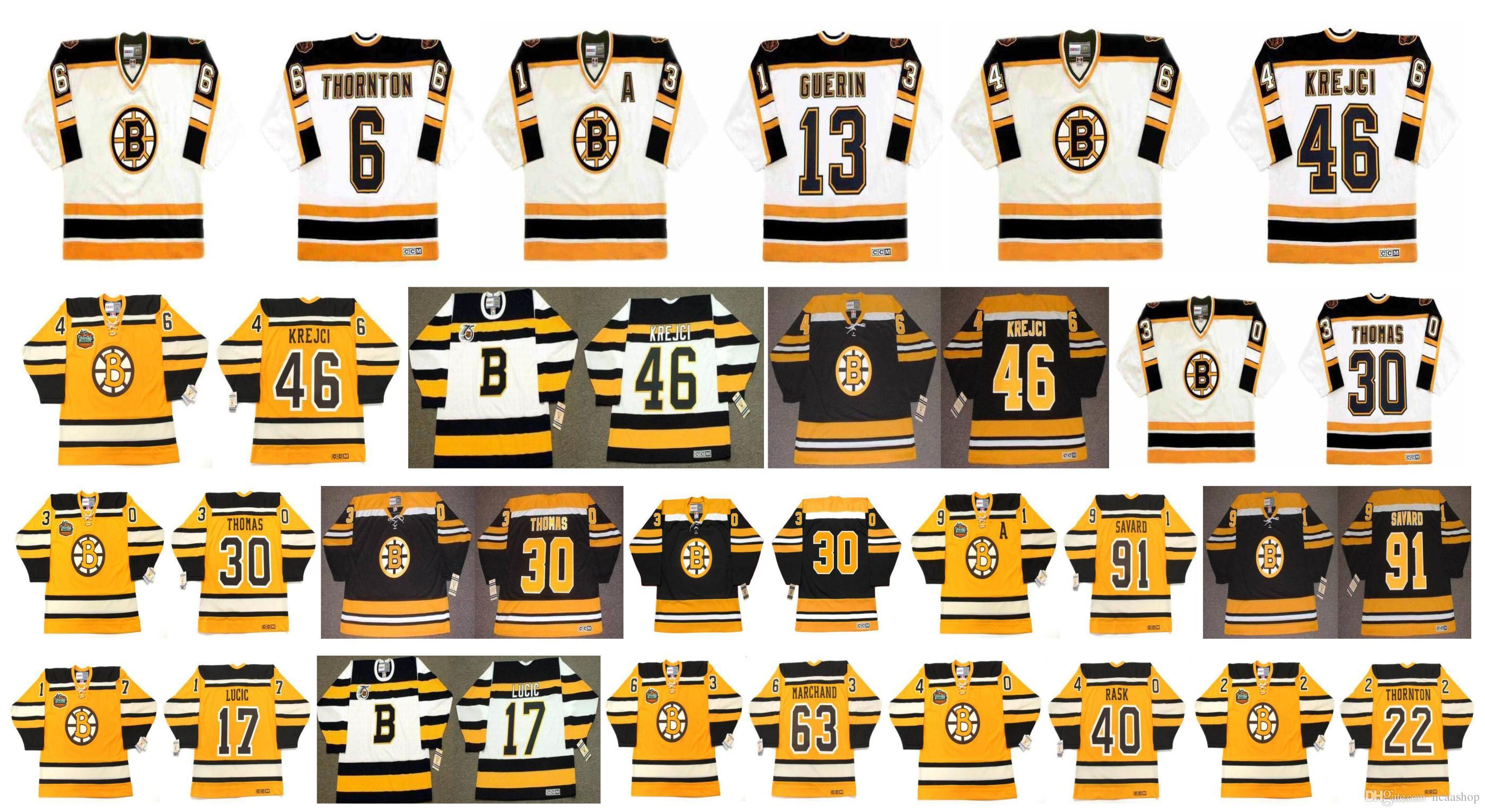 6976489eb 2019 Vintage Boston Bruins Jersey 6 JOE THORNTON 13 BILL GUERIN 46 David  Krejc 30 Tim Thomas 91 MARC SAVARD 17 Milan Lucic CCM Hockey Jerseys From  Ncaashop, ...
