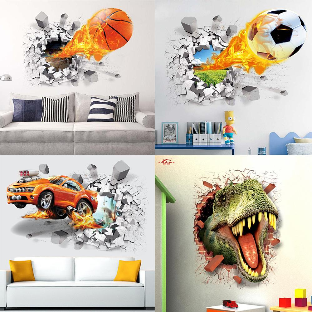PVC wall stickers firing football through for kids room decoration home decals soccer funs 3d mural art sport game poster