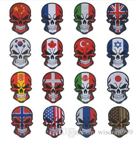 SKULL SPAIN FLAG RUSSIA USA Israel canada patch Spanish UK National Flag Tactical Morale Military Espana Patch Applique