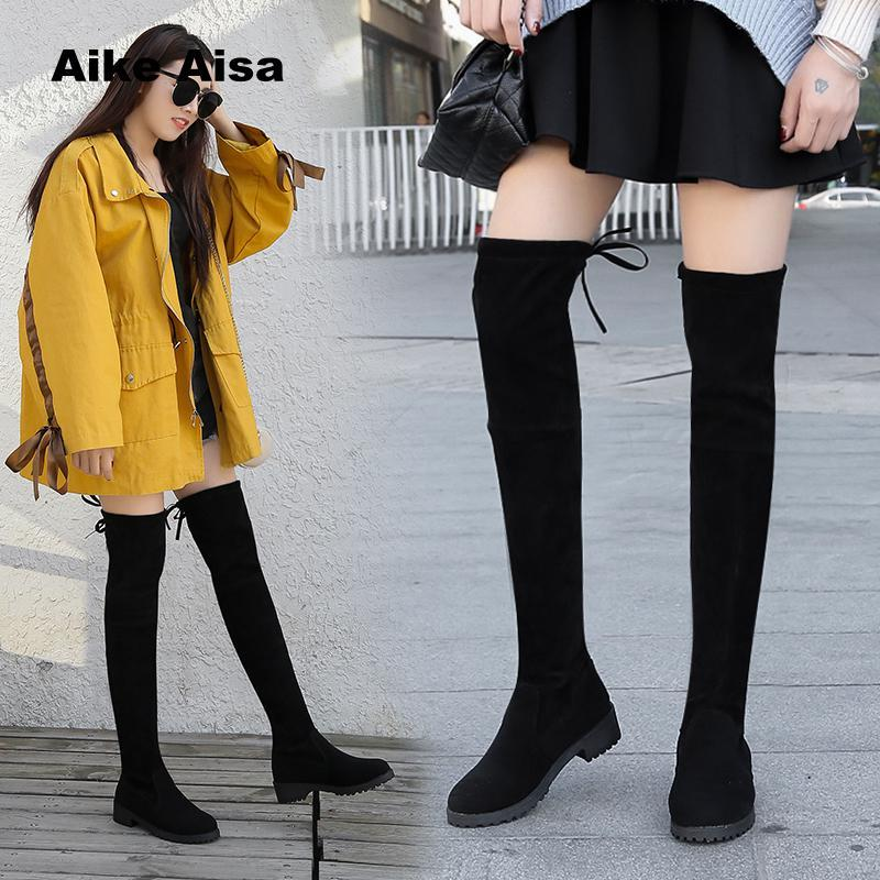 ac0a09151 2019 Winter Over The Knee Boots Women Stretch Fabric Thigh High Sexy Woman  Shoes Long Bota Feminina Zapatos De Mujer SIZE 41 Desert Boots Wellies From  ...