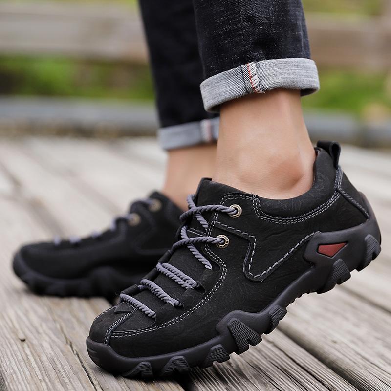 eb2a9abf0e Compre Primavera Otoño Hombres Zapatos De Marca Al Aire Libre Zapatos  Antideslizantes Escalada En Roca Zapatillas De Deporte De Cuero Genuino  Hombres ...
