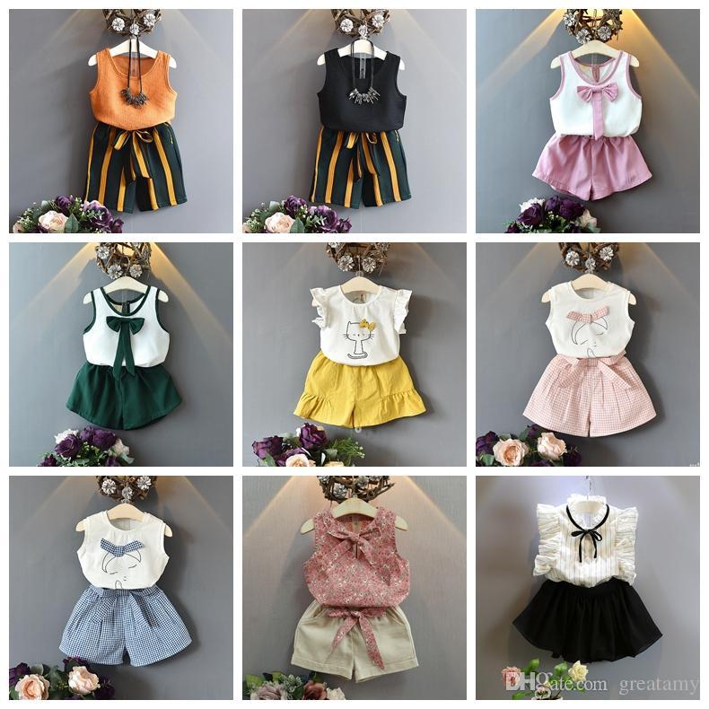 62f718900692cc ... Baumwolle T Shirt Tops + Shorts Hosen Röcke 2 Stücke Set Kinder  Boutiquen Kleidung Sommer Mädchen Outfits Von Greatamy