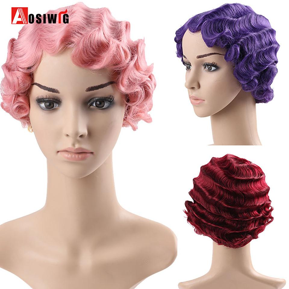 Short Curly Black Cute Wig For Black Finger Waves Women African Afro Hair Synthetic Wigs For Black Women Short Hair