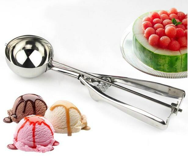 Hot sell Stainless steel ice cream scoops diameter 4/5/6cm fruit spoon cookies spoon ball maker cooking tool with fast shipping