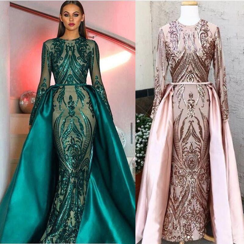 880e02941 Vestidos de noche de sirena verde oscuro de lujo con falda larga  desmontable Manga larga Nuevo 2019 Vestido brillante de Zuhair Murad  Vestido formal ...