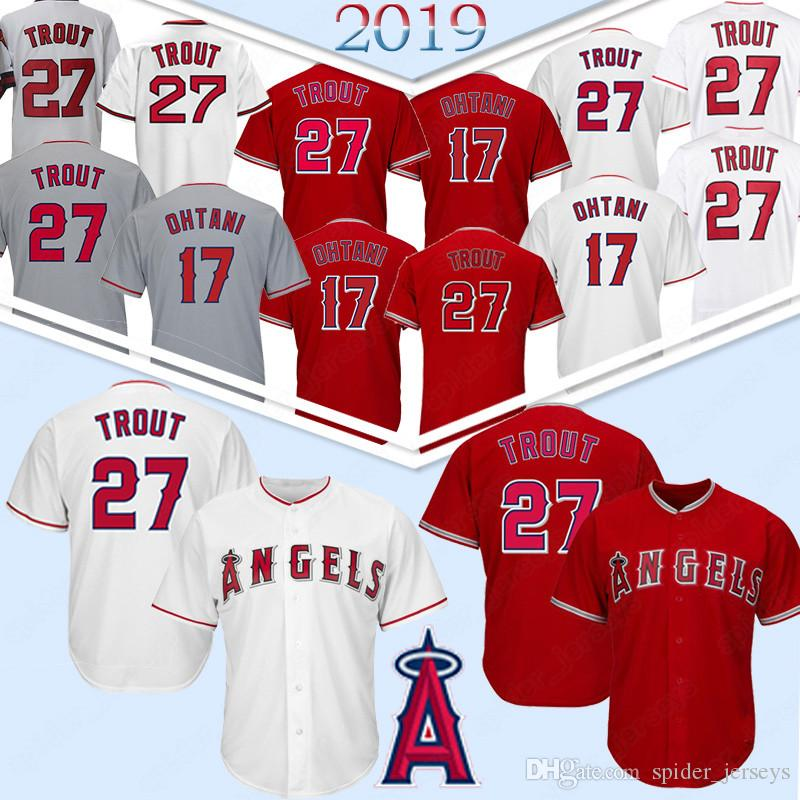 Angeli 27 Mike Trout maglie Los Angeles # 17 Shohei Ohtani 150 Patch baseball maglie Mens cucita TOP 27 Mike Trout 17 Shohei Ohtani