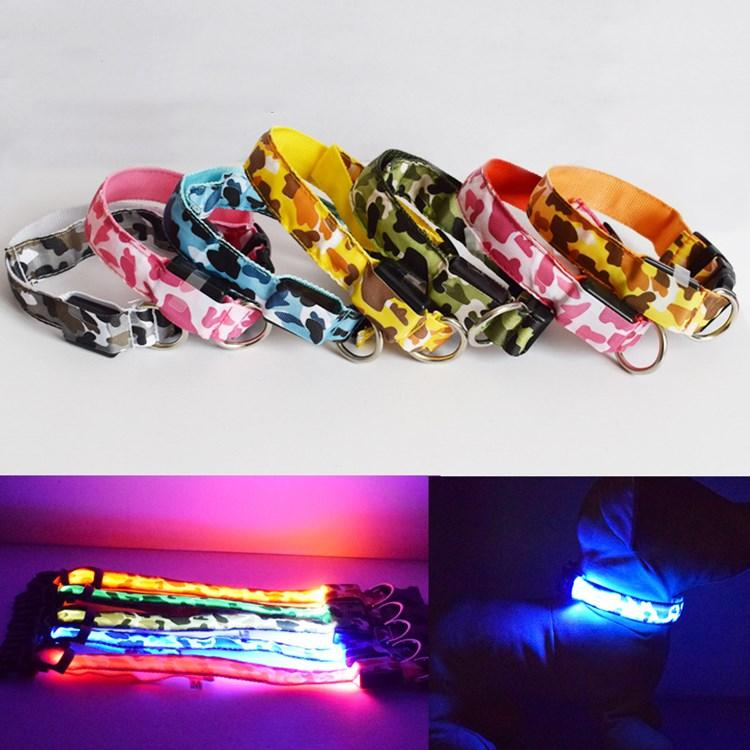 hot Dog Collars Pet Camouflage Traction Ring LED Light Collar Dog Flash Luminous Pet Collar Collar pet Accessories T2I5689