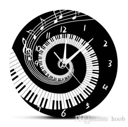Acheter élégant Piano Keys Noir Et Blanc Horloge Murale Moderne