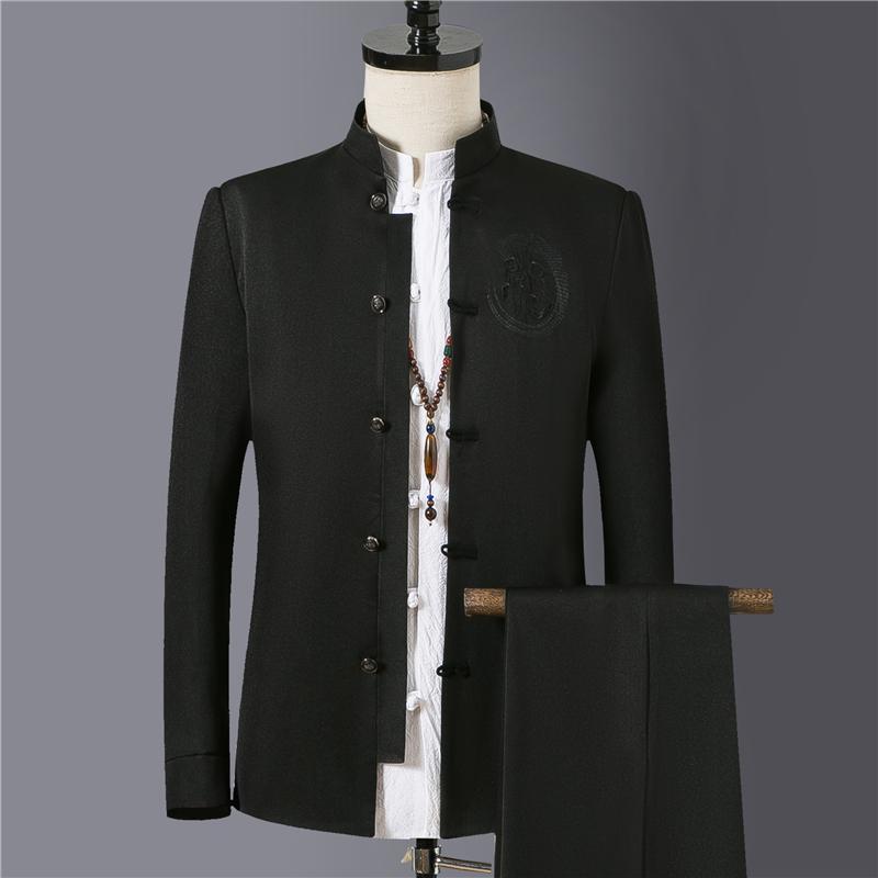 54317ef28ff1 2019 de alto grado Negro Stand Collar Traje Hombres Banquete de negocios  para hombre Blazer Chaqueta y pantalones Slim Fit Hombre trajes bordados