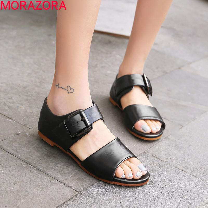 e309621db MORAZORA 2019 Hot Sale Women Sandals Simple Buckle Summer Shoes Comfortable  Fashion Flat Shoes Female Unique Casual Woman Gold Wedges Red Wedges From  ...
